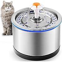 PUPPY KITTY Fontana per gatti in acciaio inossidabile da 2,5 litri, filtrazione a 4 stadi, fontana per gatti in metallo…