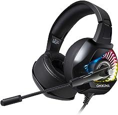 Gaming Headset für PS4, Accevo Surround Sound LED Licht Professional Kabelgebundenes Kopfhörer mit Mikrofon für PC, Xbox One, Nintendo Switch