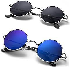 Mr. Brand Women's Round Mirrored Sunglasses PACK OF 2 COMBO WITH BOX(Blue Medium)