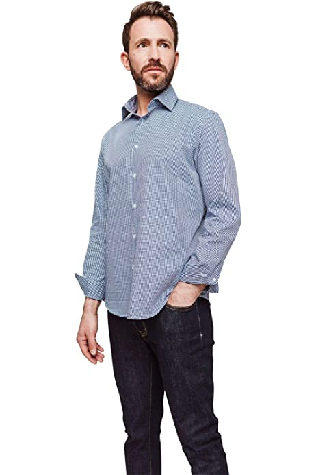 Arrow - Camisa regular con cuadros vichy azul marino azul ...