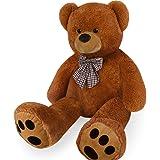 Deuba Teddy | Größe XL 175cm | Farbe Braun | Allergiker geeignet | Teddybär Kuscheltier Stofftier Plüschbär Plüschtier Teddi