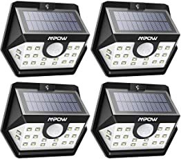 Mpow Solar Lights Outdoor, 20 LED Motion Sensor Garden Lights IP65 Waterproof Wireless Security Lights for Garage Front Door Garden Pathway - 4 Pack (Auto On/Off)