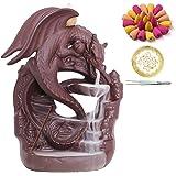 Bruciatore di incenso di drago in ceramica con 100 coni, porta incenso con riflusso a cascata, ornamento per aromaterapia, ar