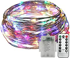 LED String Lights 10M 100 LED Wire Lights Fairy Starry Lights Firefly Lights for Party Wedding Decoration Christmas (Multicolour)