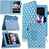 MoveAir - Polka Dot Blue Amazon Kindle FIRE HD 7' 2013 latest Version Leather Case Cover and Flip Stand Cover Typing…