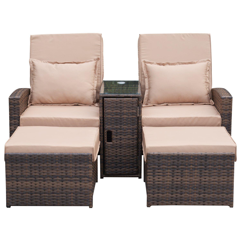 Superb Outsunny Outdoor Garden Rattan Companion Sofa Chair Stool Creativecarmelina Interior Chair Design Creativecarmelinacom