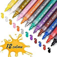Farbe Stifte, STA Acrylstifte Marker Stifte permanent 12 Farben mittlere Strichstärke, ungiftig, zum Bemalen von Steinen, Keramik, Glas, Leinwand, Tassen, Metall, Holz und Ostereiern, DIY-Projekte Handgemachtes