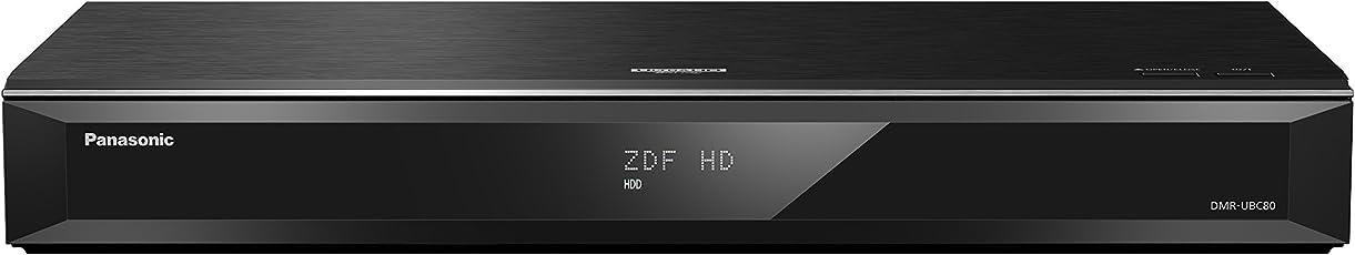 Panasonic DMR-UBC80EGK UHD Blu-Ray Recorder (1TB HDD, Wiedergabe von Ultra HD Blu-Ray Discs, 2X DVB-C und DVB-T2 HD/ T2) Schwarz