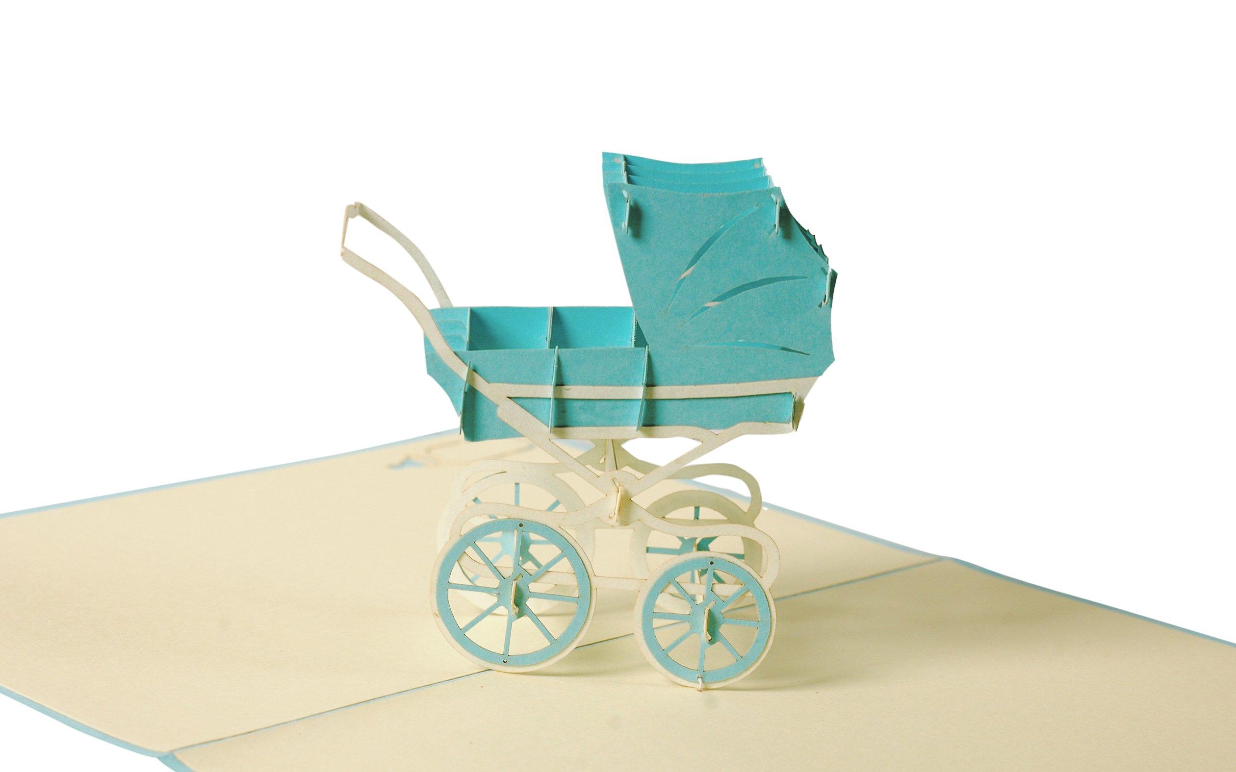 Glueckwunschkarte zur Geburt Baby Shower Boy G13.2 Pop Up Karte mit blauem Kinderwagen aus Papier