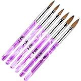 AvoDovA 6PCS Purple Nail Art Brush Set, Nail Art Tips Builder Brush, UV Gel Acrylic Nail Brush Nail Painting Brush Pen…
