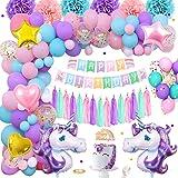 Decorazioni Compleanno Unicorno Bambina, Rosa Viola Blu Bel Compleanno Palloncini Con Banner Torta Topper Nappe Pom Poms Late