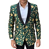 INMONARCH Mens Shawl Lapel Sport Slim fit Blazer Green Jacket Two Button Embroidered Coat SB19409