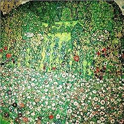 Posterlounge Forex-Platte 70 x 70 cm: Gartenlandschaft mit Bergkuppe von Gustav Klimt/akg-Images