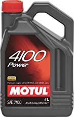 Motul 4100 Power 5W-30 API SM/CF Technosynthese Semi Synthetic Motor Oil for Petrol,Diesel, CNG & LPG Cars (4 L)