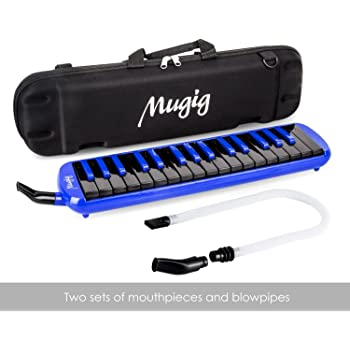 Mugig Melodica 32 Keys, C-key, Piano/Keyboard inspired instrument, very Portable, Phosphor Bronze Reed, Suitable for Practice, Teaching or Stage Performance. (Black & Blue)