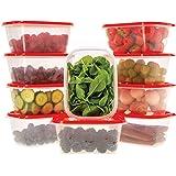 Ensemble de boîtes de Rangement Alimentaires avec couvercles Rouge - À Usage Multiple - Lot de 10 récipients x 1L - Alimentai