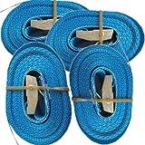 Timtina 4 spanbanden met klemsluiting (4m 250 kg 25mm breed, blauw)