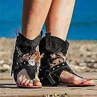 DZQQ Chaussures décontractées Femme Gland Rome Gladiateur Sandales pour Femmes 2021 Sexy Bottes d'été Clip Toe Dames…