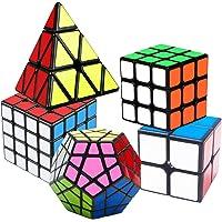 Coolzon Speed Cube Rubiscube, Ensemble de Cubes 2x2 3x3 4x4 Pyraminx Pyramide Cube Megaminx, Cube de Vitesse Paquet de 5