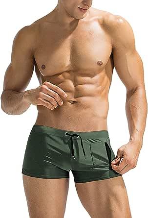 JINIDU Mens Swim Trunks Shorts Swimwear Swimsuit Boardshort with Zipper Pocket