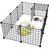 قفص وبيت للكلاب والحيوانات الأليفة من سيمو مصنوع من المعدن وقابل للطي، قفص كلاب للنشاطات واللعب مكون من 12 لوحة معدنية مصنوعة