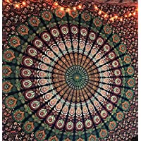 Tapestry Hippie Mandala Wall Hanging Blue Orange/ Indian Cotton Throw Tapestry/ Boho Blue Tapestries Hippie/ Bohemian Bedding Queen Bedspread/ Yoga Beach Meditation Mat Rugs/ Christmas Gift (Queen (220 x 210 cms / 85 x 95 inches))