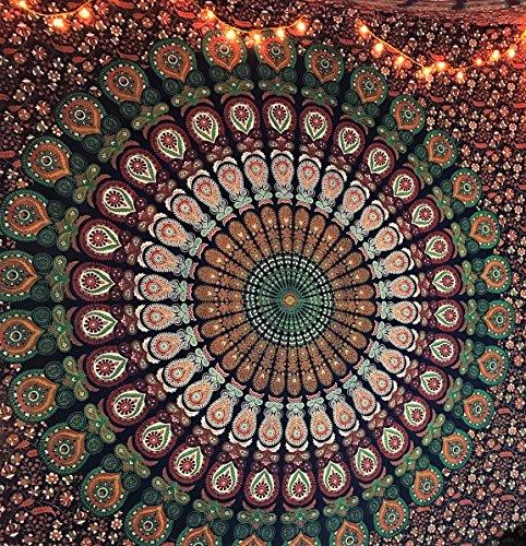 Azul naranja Color tema Mandala Pared tapestriy, pavo real tapiz, psicodélico indio tapiz de cama, Bohemia colgante de pared, diseño de flores Reina cama, tapiz, Hippy por raajsee (220* cm)