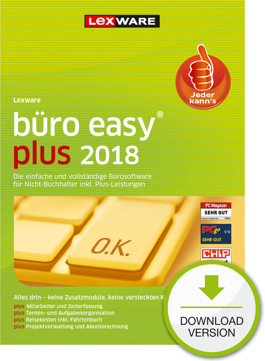 Lexware büro easy plus 2018 Download Jahresversion (365-Tage) [Online Code]