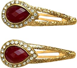 B-Fashionable Glittering Drop Snap Red Metal Hair Clip For Wome N
