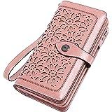 Vintage Geldbörse Damen Leder Gross, RFID Schutz Damen Portemonnaie Groß Viele Fächer, Geldbeutel Damen Gross mit 26 Kartenfä