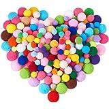 BENECREAT 1 Box(400pcs) Pompones de Colores Variados y 4 Tamaños Pompones Bolas para Manualidad y Materiales de Gustos