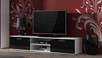High Gloss TV Cabinet Stand Entertainment Unit With Doors
