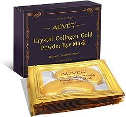 Aliver New Crystal 24K Gold Powder gel Collagen Eye Mask Gold Eye Mask, Premium anti Aging, anti rughe prodotti con acido ialuronico, collagene, idratante per sotto gli occhi rughe, rimuovere borse sotto gli occhi, Eye bag, rimovibile sotto gli occhi, occhiaie, cura della pelle, idratante, occhi gonfi ,10paia/pacchetto