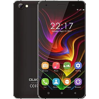 OUKITEL C5 - Android 7.0 3G 5 pollici Smartphone Cornice metallica MTK6580 Quad Core a 1,3 GHz 2 GB di RAM 16 GB ROM doppia fotocamera Dual SIM Anti-tormentone - Nero
