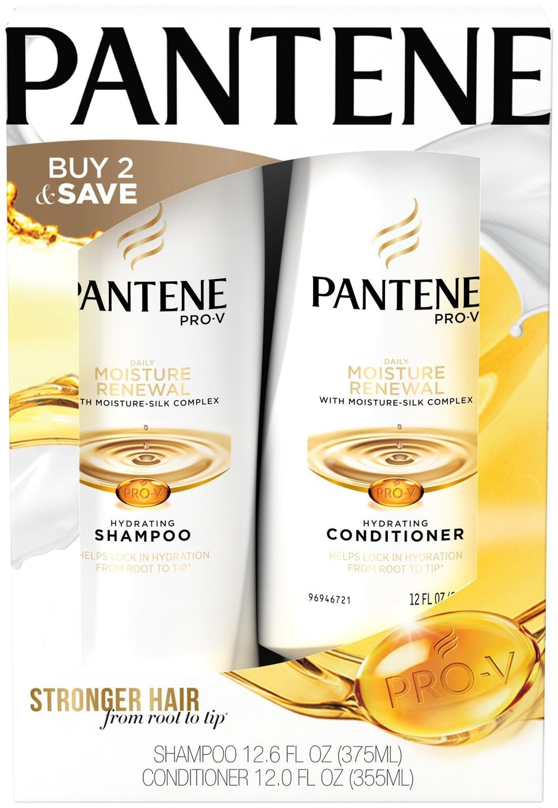 Pantene Pro V Daily Moisture Renewal Shampoo (12.6 Oz) + Conditioner (12 Oz) by Pantene