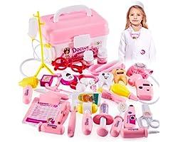HERSITY Valigetta Dottoressa Bambina Kit Medico Giocattolo Camice Dottore Gioco Bambini 3 4 5 Anni Rosa