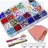 STARTOGOO 600 Perles de Cire Octogonales pour Lettres 24 Couleurs avec 3 Bougies de Thé 1 Cuillère de Fusion de Cire et 1 Sty