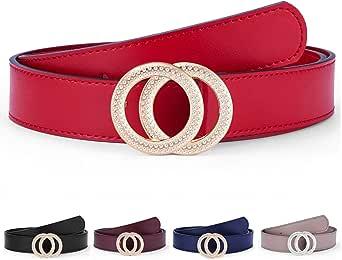 Women's Belts Genuine Leather Fashion Luxury Designer Belt For Jeans Dress Double Ring Round Diamond Buckle