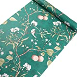 Rustic Country Floral Birds Peel and Stick Wallpaper Self Adhesive Vinyl Floral Contact Paper Shelf Liner for Walls Cabinets