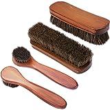 KEESIN Cepillos para pulir zapatos con cerdas de crin de madera para el cuidado de los zapatos (4 unidades)