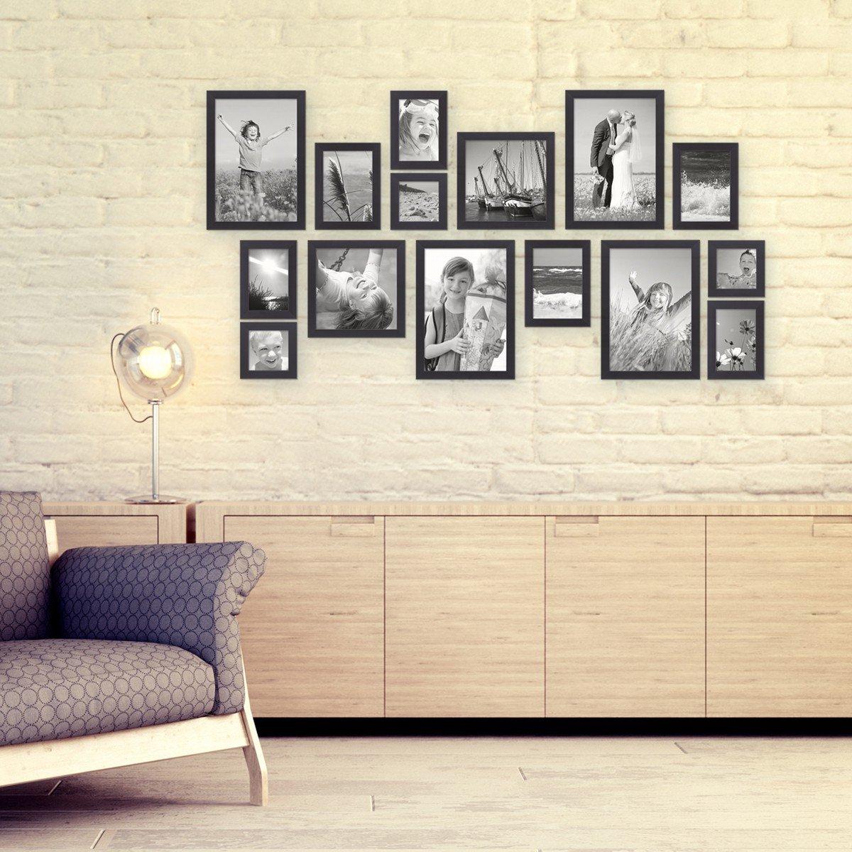 Cornici Moderne Per Foto.Set Da 15 Cornici Moderne Nere In Legno Massiccio Dimensioni 10x10
