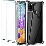 Leathlux Coque per Samsung Galaxy A21s Transparente avec 2 Verre trempé Protection écran, Souple Silicone Antichoc Bumper étu
