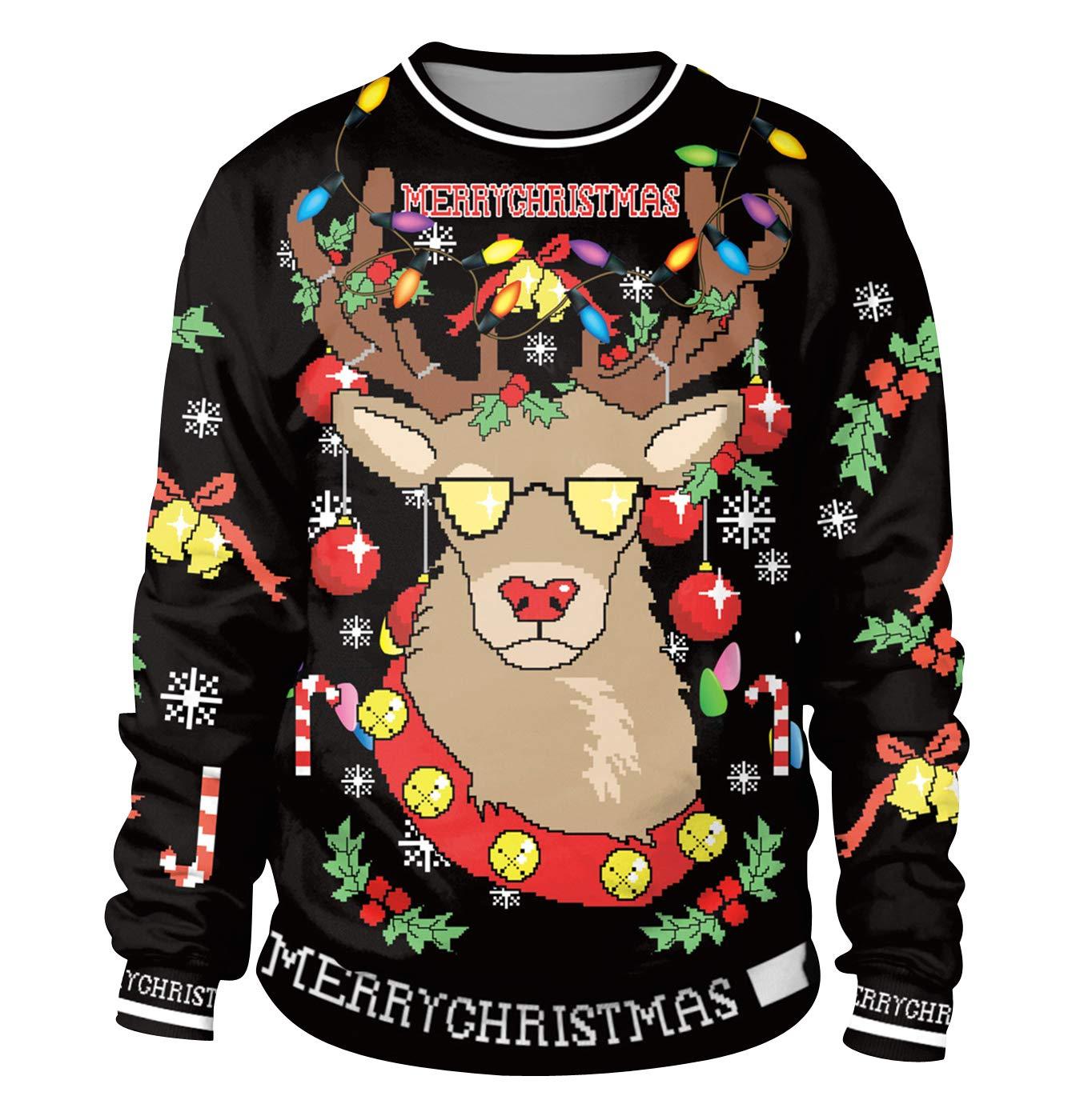 Sudadera Navidad Estampadas Sudaderas Navideñas Unisex Jersey Sueter Navideño Hombre Mujer Reno Sweaters Pullover Cuello Redondo Largas Chica Anchas Deportivas Invierno Camisetas Personalizadas