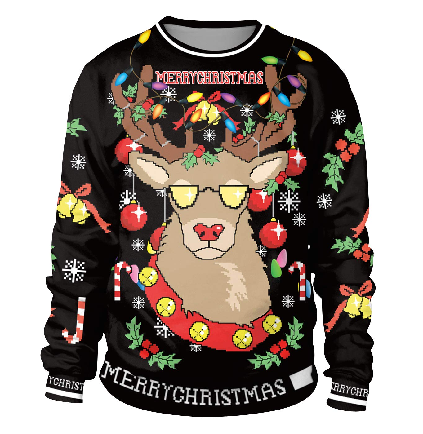 Christmas Tops.Christmas Jumpers Womens Mens Funny Xmas Jumpers Sweatshirts Novelty Ugly Christmas Sweaters Pullover Reindeer Festive Santa Christmas Jumper Graphic