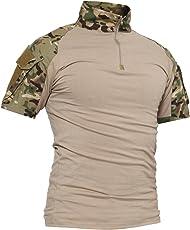 TACVASEN Slim Fit Herren Baumwollhemd Outdoor Military Shirt (umfassen Langarm und Kurzarm)