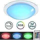 Plafoniera LED da soffitto, lampadario moderno cambia colore, telecomando, dimmerabile, plafoniera bagno, luce bianca o colorata, LED integrati 12W 230V IP44