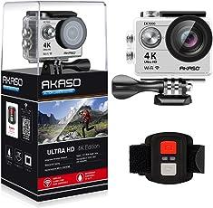AKASO Action Cam 4K Wifi Sport Action Kamera 170°Ultra Weitwinkel Full HD Camera mit 12MP Wasserdichte Kamera 2 Zoll LCD Bildschirm 2.4G Fernbedienung Zum Auslösen 19 Zubehör Kits (Silber)