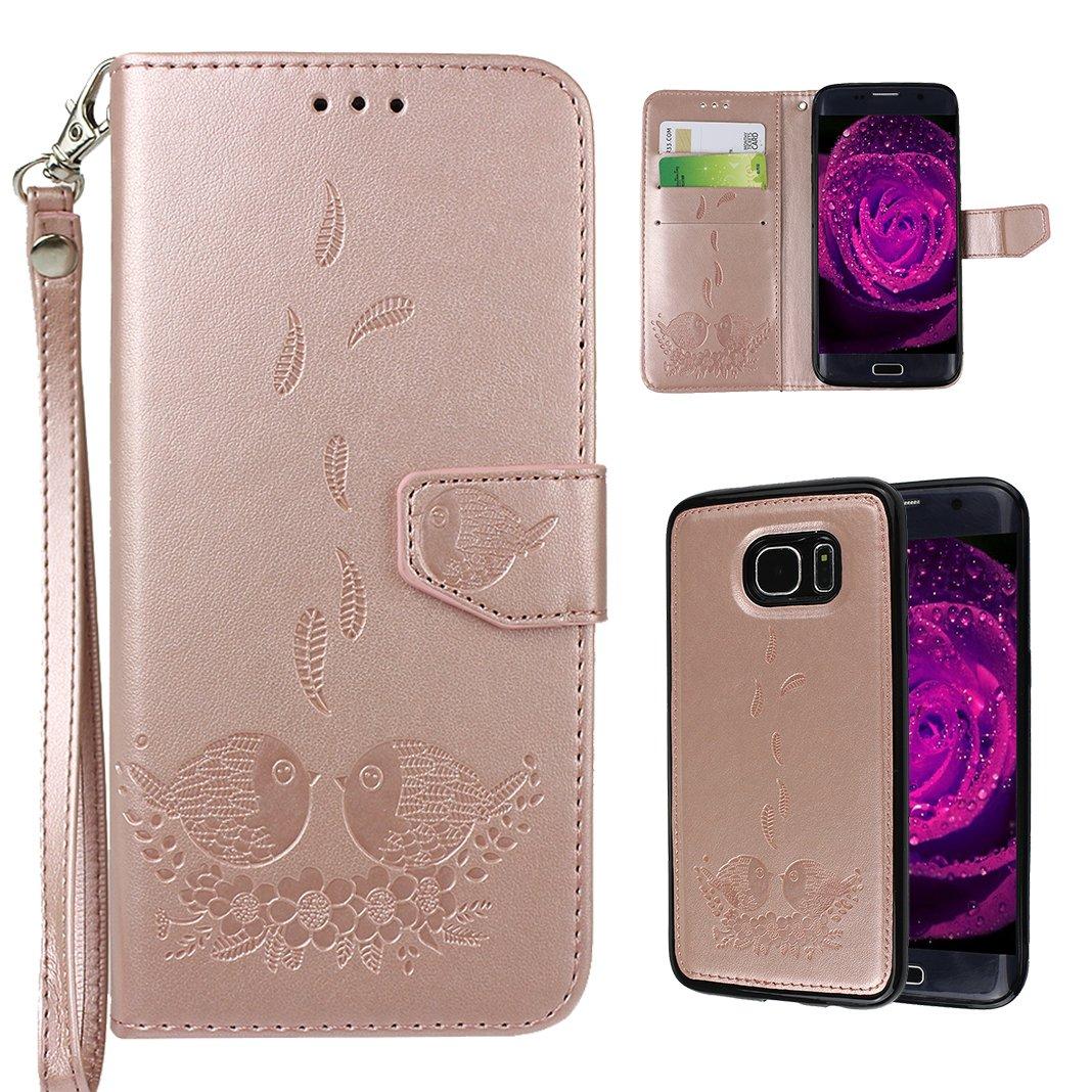 Goffratura Custodia Per Samsung Galaxy S7 Edge, Asnlove 2 in 1 Colore Puro Flip Portafoglio Cover St