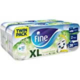 Fine, Sterilized Toilet Paper, Extra Long, 400 Sheets x2 Ply, Pack of 20 Rolls, Twin Pack