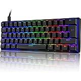 UrChoiceLtd UK61 60% Teclado mecánico para Juegos Tipo C Cableado 61 Teclas Retroiluminación LED Teclado Impermeable USB Retr